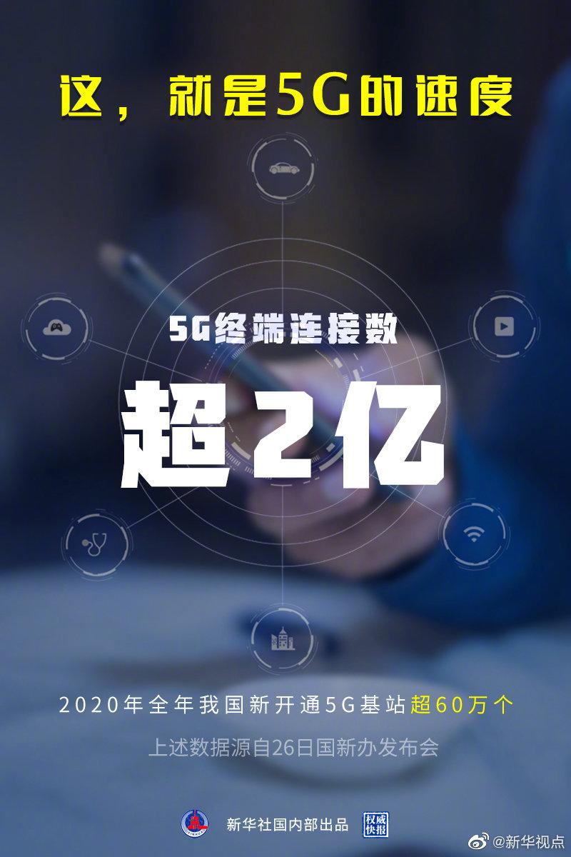 权威快报 我国5G终端连接数超2亿